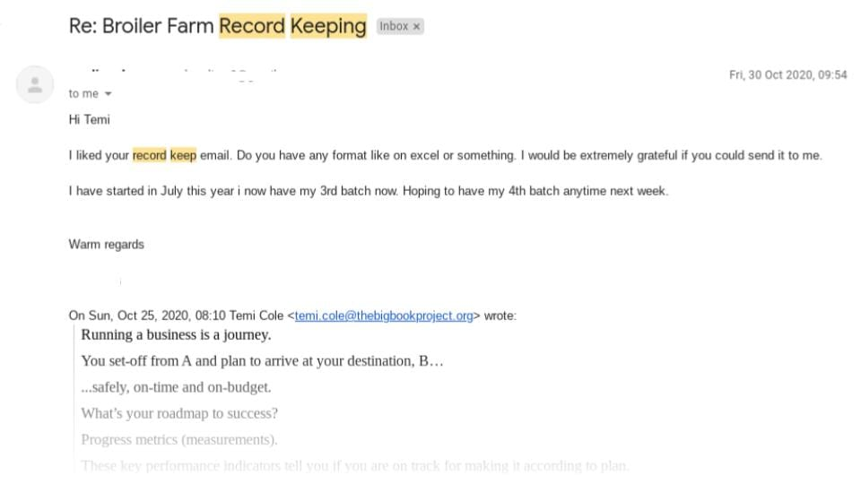 Email Subscriber Response To Broiler Farm Record Keeping