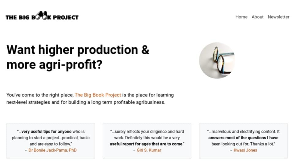 The Big Book Project Agribusiness Consultant