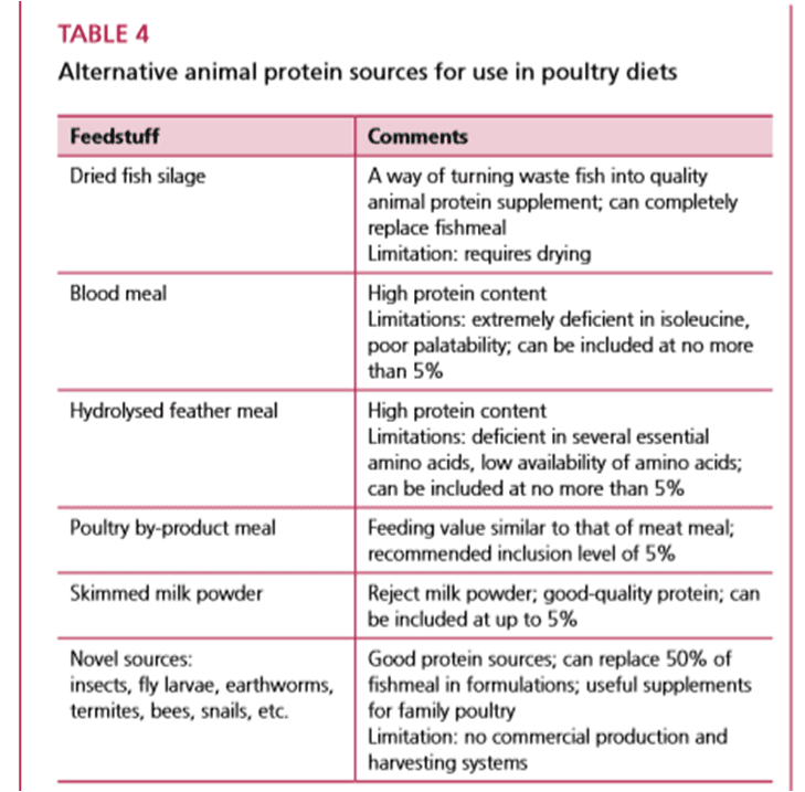 Alternative Animal Protein Sources For Use In Poultry Diets