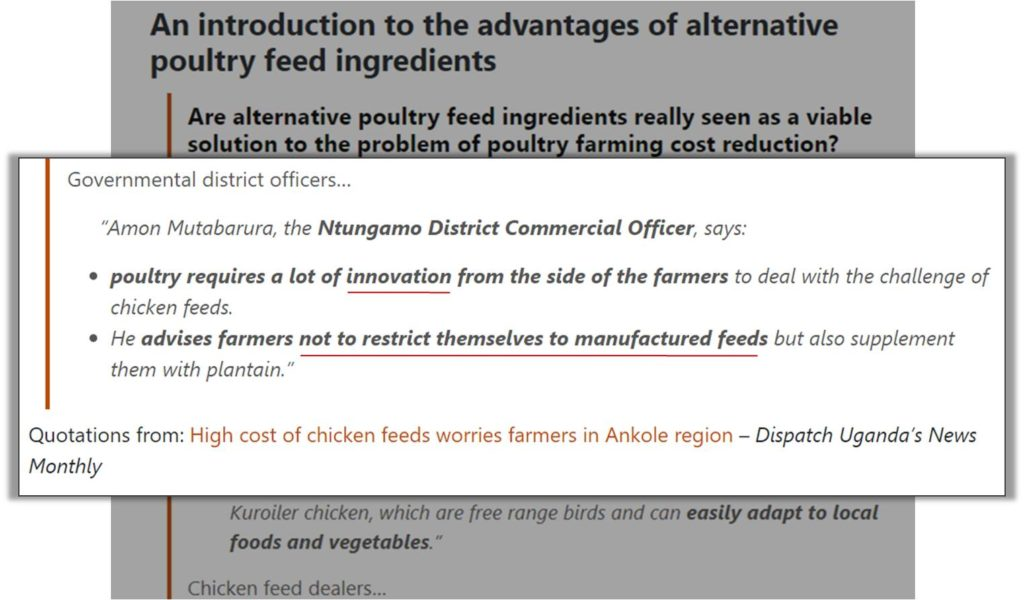alternative broiler feed ingredients