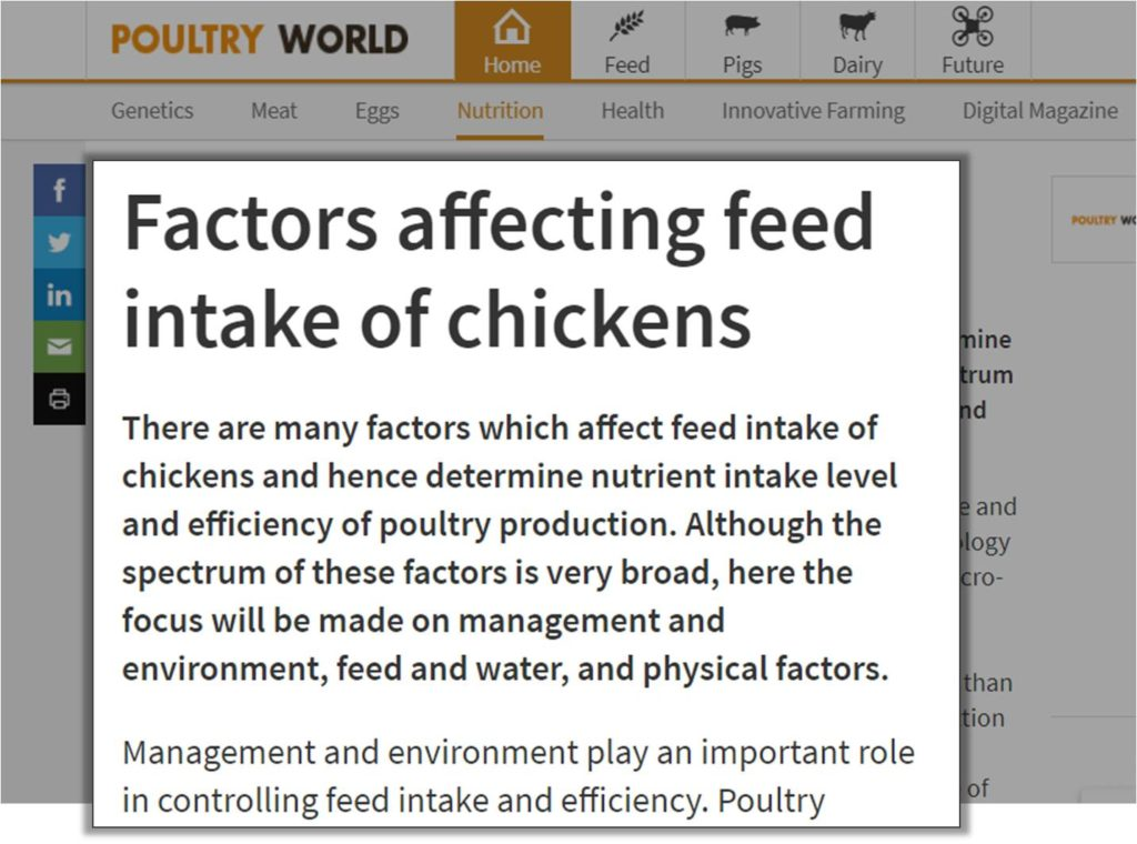 Factors affecting intake of broiler feed