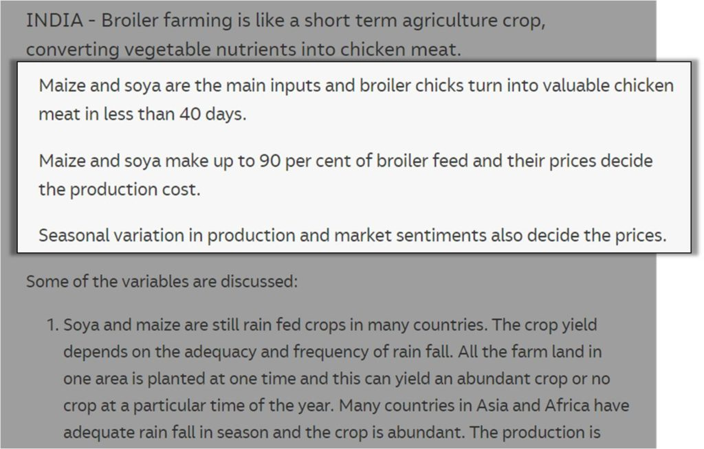 maize and soya main inputs to broiler farming