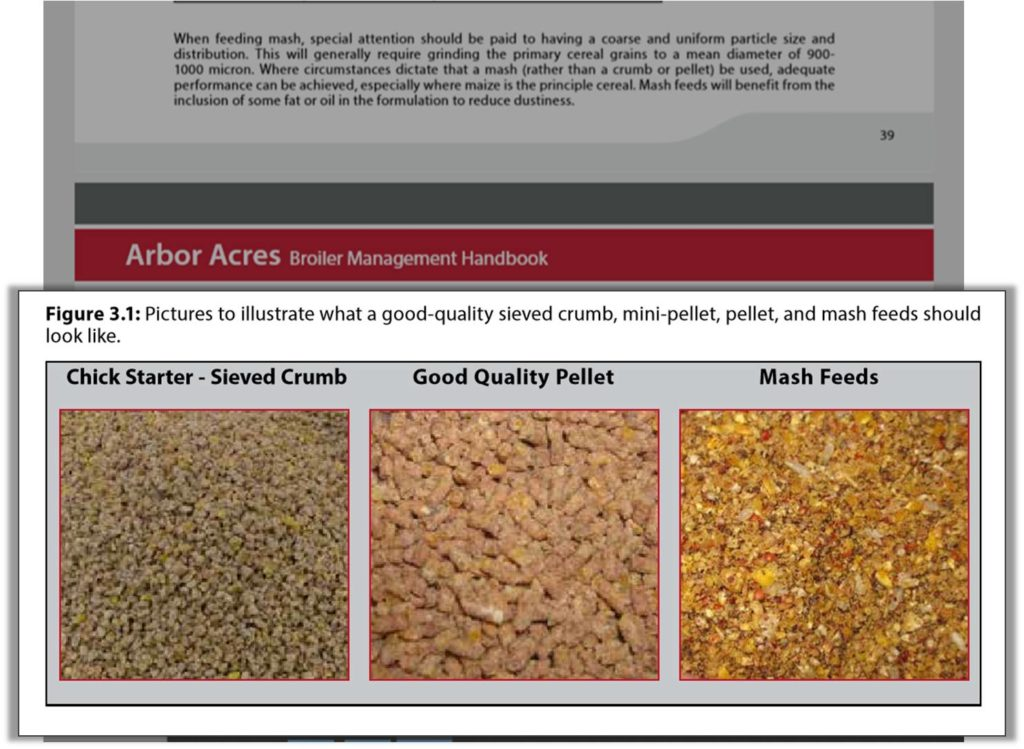 Broiler feed particle size