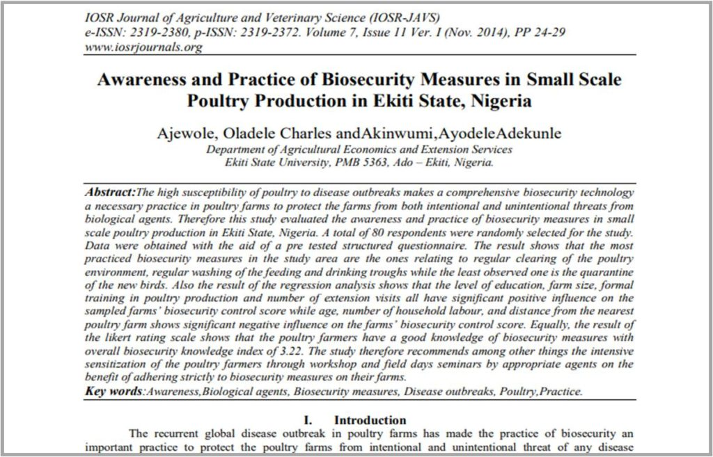 Awareness and Practice of Biosecurity Measures In Small Scale Poultry Production