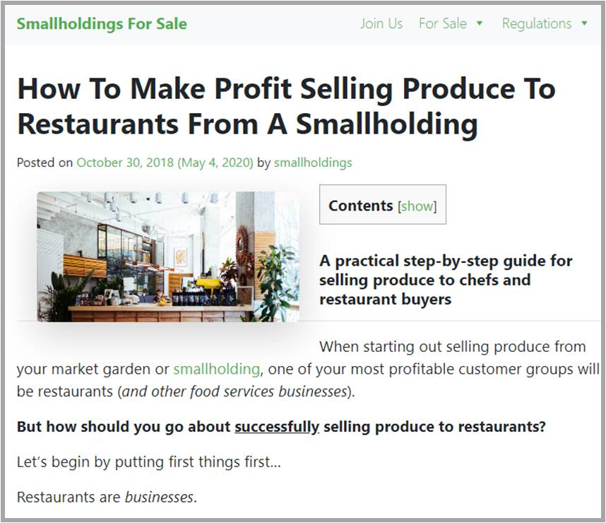 How To Make Profit Selling Produce To Restaurants From A Smallholding