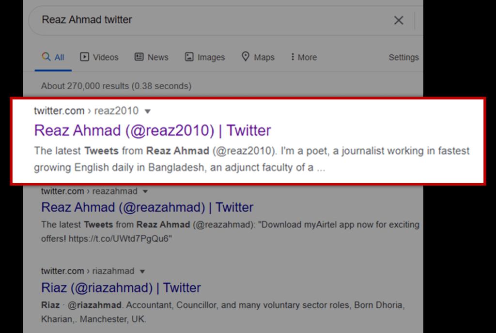 Reaz Ahmad Twitter
