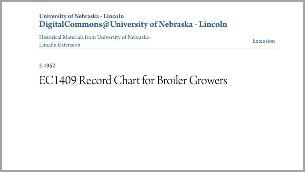 Record Chart For Broiler Growers
