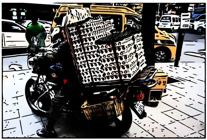 Trade Sales of Eggs In Bulk On A Moped