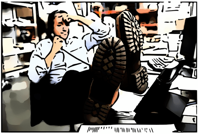 Poultry Trade Deals Man At His Desk On The Phone Cartoonized