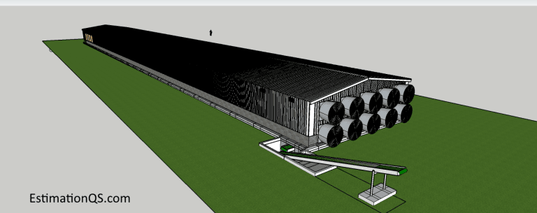 3D software generated design of an environmentally controlled poultry house for 20,000 layers