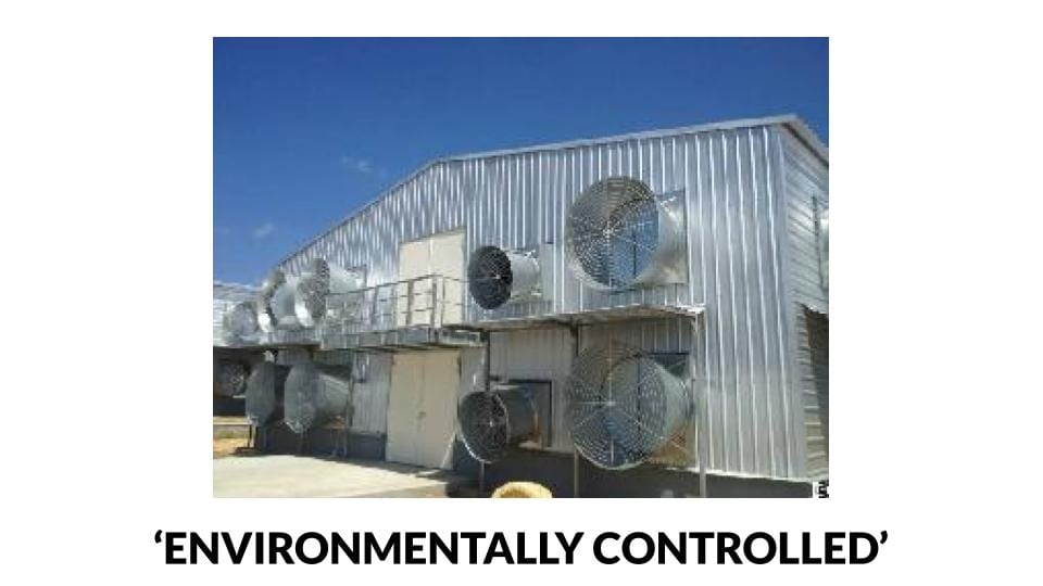 Environmentally controlled poultry house