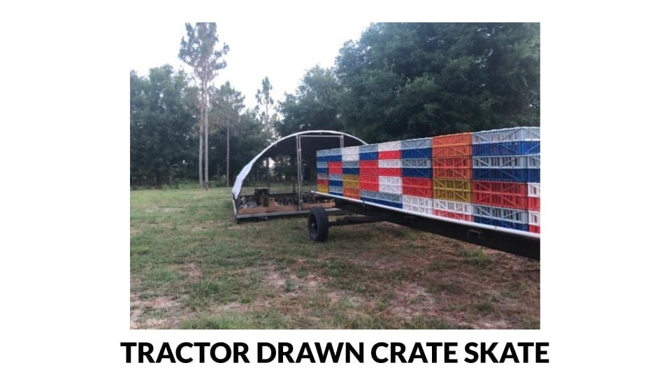 Tractor pulled poultry crate skate photo