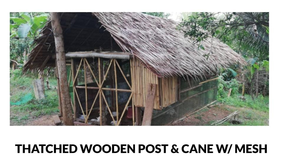Thatched Wooden Post & Cane Poultry House with Mesh Walls Photo