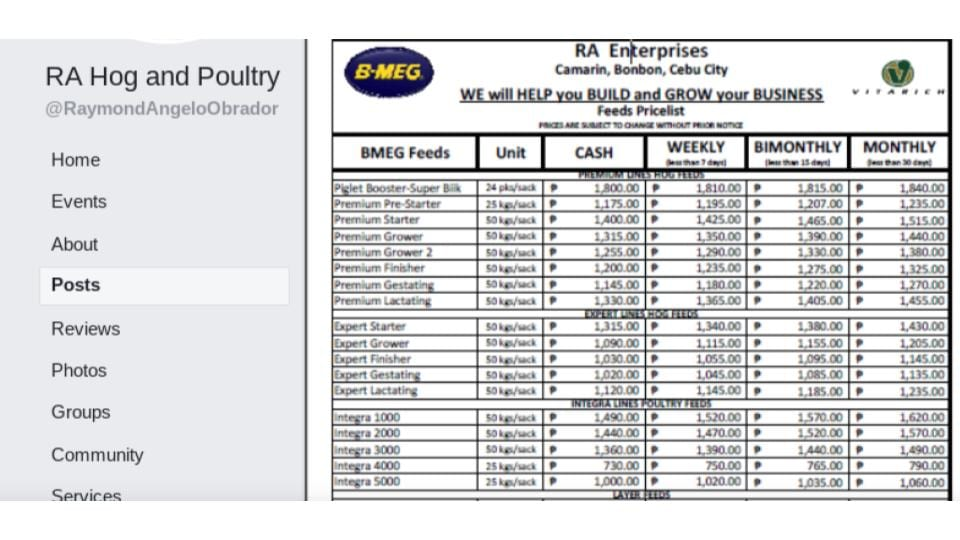 Poultry Feed List Price for BMEG in the Philippines
