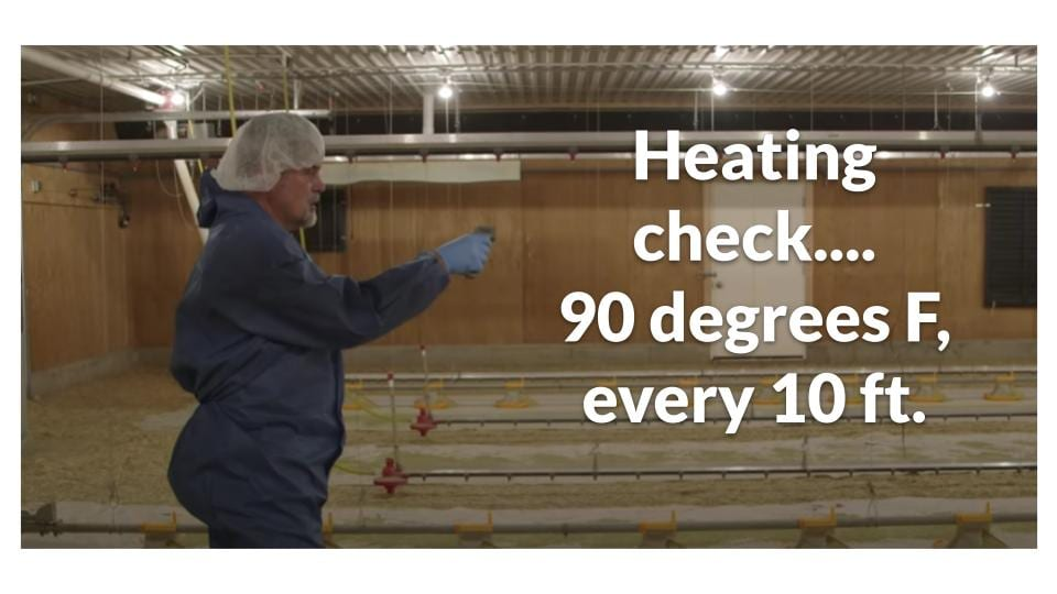 90 degrees F evenly in brooder hosue