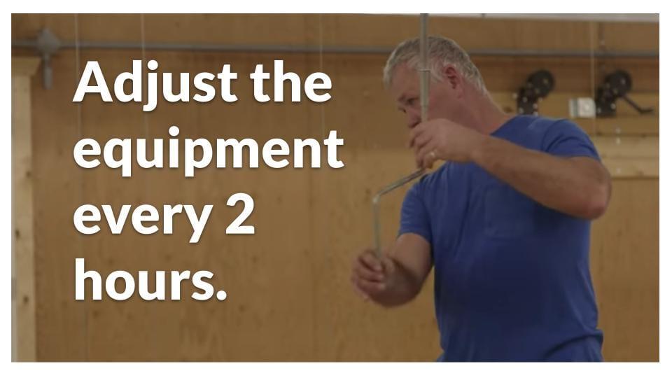 Adjust brooder equipment every 2 hours