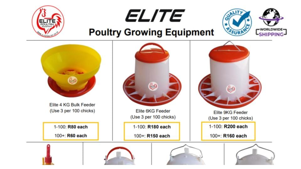 Poultry Growing Equipment Quote in SA Rand 2021